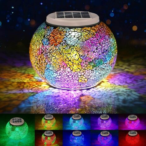 """main image of """"Color Changing Mosaic Solar Lights Outdoor Decorative, Solar Table Lamp Waterproof Multi-Color Led Glasses Night Light for Garden, Party, Bedroom, Patio, Lawn, Indoor, Ideal Gifts"""""""