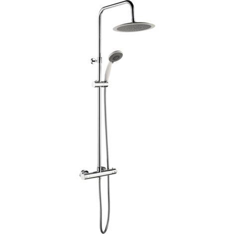 Color colonne de douche chromée et blanche avec thermostatique