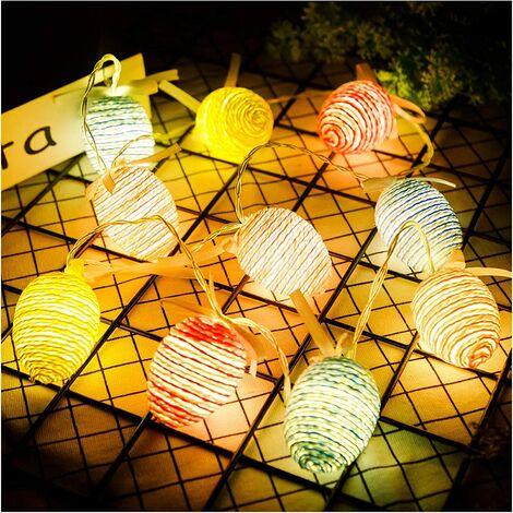 "main image of ""Color Pre-lit Globe String Paper Rope Balls Lights, 10 LED Lights 4.9ft Lantern Battery Powered String Lights for Garden Patio Bedroom Party Decor Indoor Outdoor Celebration"""