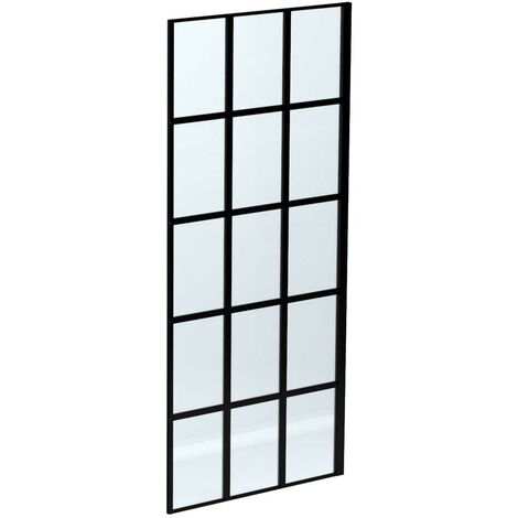 """main image of """"Colore Black Framed 1950mm x 900mm 8mm Walk In Glass Shower Screen"""""""