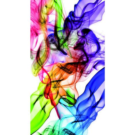 Colored smoke, rideau imprimé motifs fumée multicolore 140x245 cm, 1 part