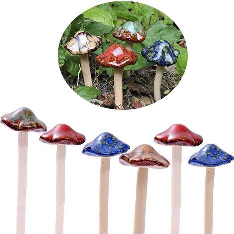 Colorful ceramic garden mushrooms [4 colors 6 pieces] Flowerpot decoration for dollhouse, potting house, garden shed, flowerpot, statuette