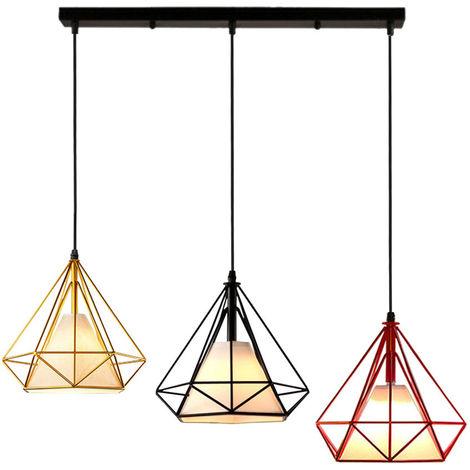 Colorido 3 Cabezas Luz Colgante Retro Industrial Luz de Techo Lámpara de Diamantes Creativa para Office Bar Café de Negro Rojo Oro
