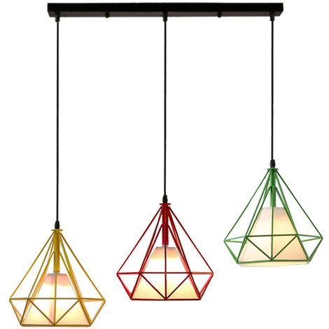 Colorido 3 Cabezas Luz Colgante Retro Industrial Luz de Techo Lámpara de Diamantes Creativa para Office Bar Café de Rojo Amarillo Verde
