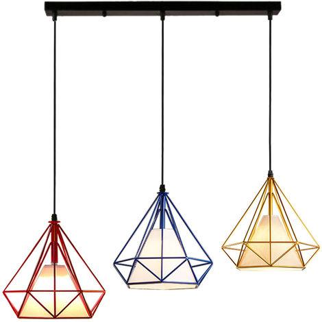 Colorido 3 Cabezas Luz Colgante Retro Industrial Luz de Techo Lámpara de Diamantes Creativa para Office Bar Café de Rojo Oro Azul Marino