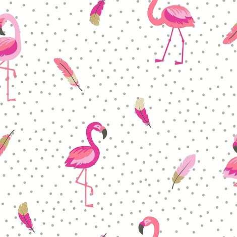Coloroll Be Dazzled Flamazing White Pink Wallpaper M1424 - Flamingo Birds Glitter
