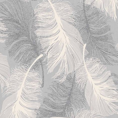 Coloroll Feather Blown Vinyl Wallpaper in Grey & White M0923