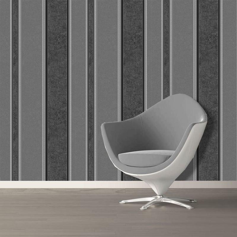 Black Silver Grey White Striped Blown Vinyl Designer Wallpaper