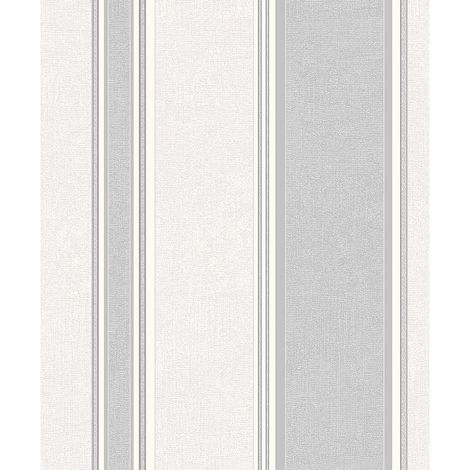 Coloroll Feather Striped Blown Vinyl Wallpaper in Grey M0916