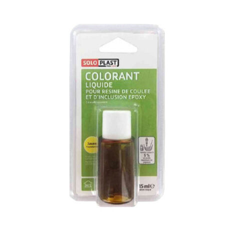 Colouring liquid for SOLOPLAST resin 15ml translucent yellow