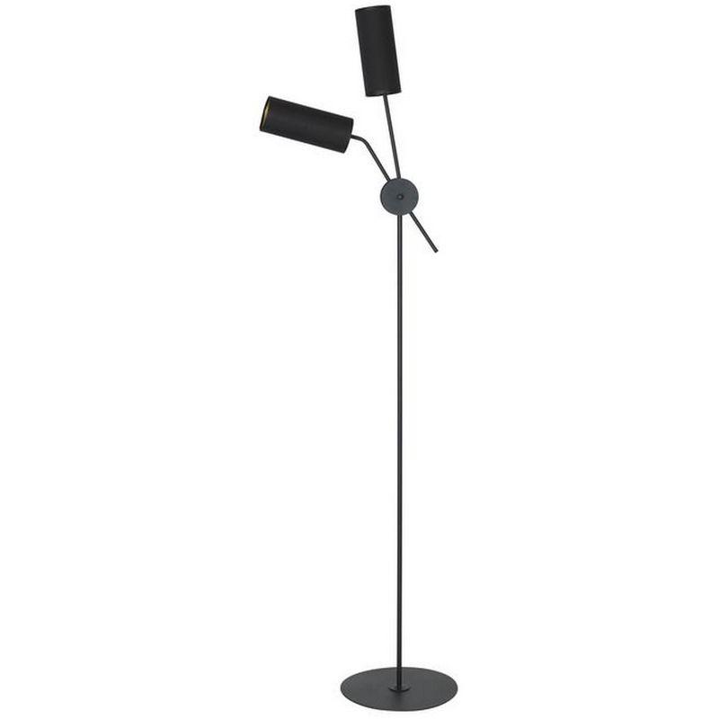 Columba Stehleuchte - Etage - Wohnzimmer, Etage - Schwarz aus Metall, Stoff, 47 x 30 x 171 cm, 2 x E14, 40W - HOMEMANIA