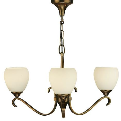 Columbia 3Lt Pendant Light In Antique Brass And Opal Glass Shades 40W