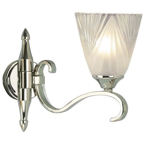 Columbia Nickel Single Wall Light And Deco Clear Glass Shade 40W