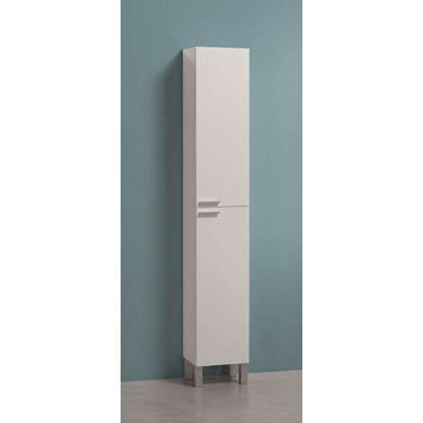Column cabinet for bathroom with two doors and two internal shelves, glossy white colour, 30 x 182 x 25 cm.