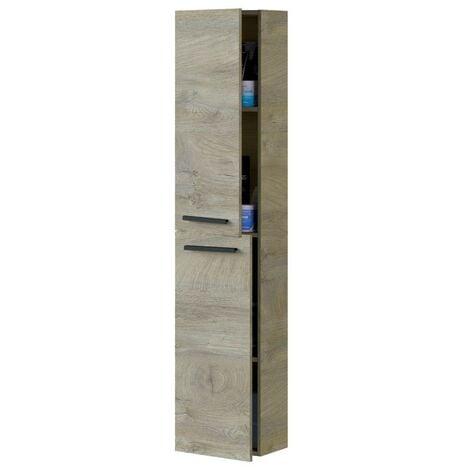Columna baño Athena 2 puertas aseo roble alaska industrial moderno almacenaje mueble 150x30x25 cm