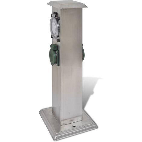Columna de acero inoxidable con enchufe y temporizador para el jardín