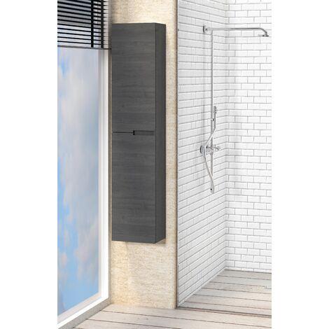 Columna de Baño Auxiliar suspendida, dos puertas Quim, color roble ceniza, 140 x 30 x 45 cm.