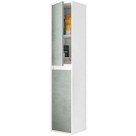 Columna de baño suspendida pared color blanco brillo y cemento estilo industrial aseo 140x30x26 cm