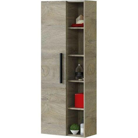 Columna de baño suspendida roble con una puerta y 7 estantes | Roble claro