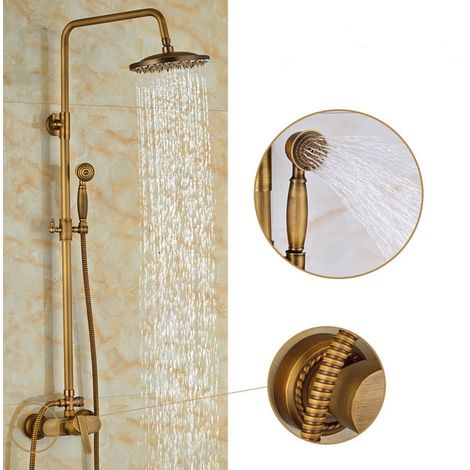 Columna de ducha ajustable Conjunto de ducha de pared de bronce macizo Diseño retro