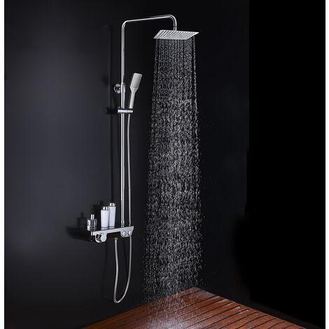 Columna de ducha ART Quad con tubo redondo extensible de 82 a 126 cm. Grifo termostático y repisa integrada de cristal templado. Ducha de mano y rociador superior cuadrados. Recambios garantizados Kibath