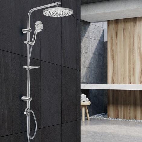 Columna de ducha cabezal de mano lluvia redondo gris claro boquillas antical