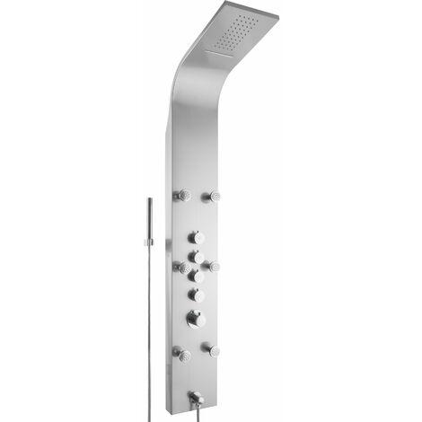Columna de ducha Cascada - panel de ducha de acero inoxidable, sistema de ducha moderno con conexiones estándar, conjunto de ducha tipo cascada - gris