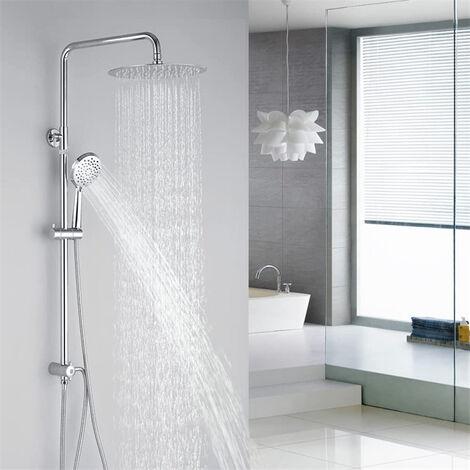 Columna de ducha con 3 funciones, sistema de ducha con alcachofa superior y alcachofa de mano, chorros de masaje, juego de ducha sin grifo para baño
