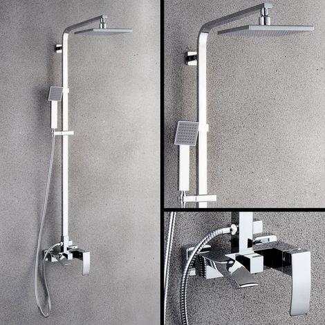 Columna de ducha de diseño con líneas rectas y pico