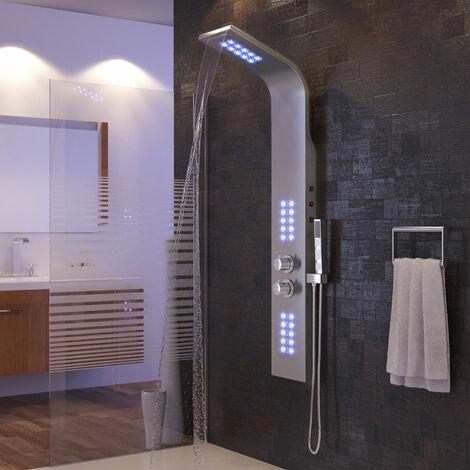 Columna de ducha de hidromasaje con iluminación de termostato de cabezal de ducha LED