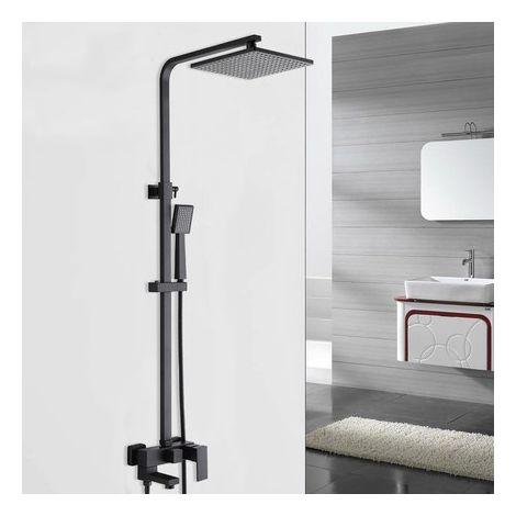Columna de ducha de latón negro con caño