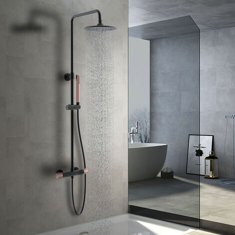 Columna de ducha extralarga termostática MAR BLUETOOTH para escuchar música y llamadas. Tubo de 100 a 150 cm. Ducha de mano hidromasaje. Acabados en blanco y cromo brillo. Recambios garantizados Kibath