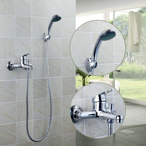 Columna de ducha Grifo de ducha de mano Manija única Bañera cromada ABS Plástico Latón Pared de baño