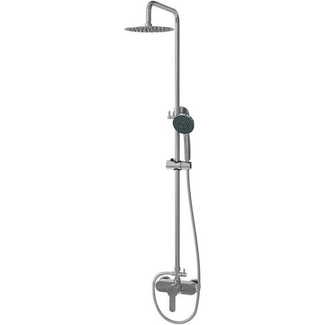 Columna de ducha Hermes con Grifo monomando, tubo redondo y duchón redondo extraplano