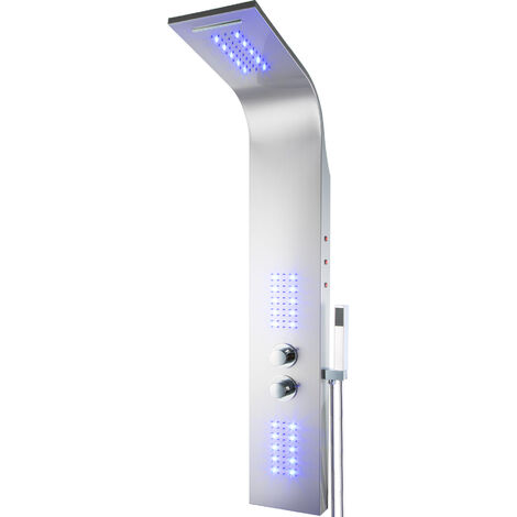 Columna de ducha LED Cascada - panel de ducha de acero inoxidable, sistema de ducha moderno con conexiones estándar, conjunto de ducha tipo cascada - gris