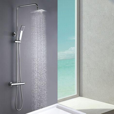 Columna de ducha MOL con grifo termostático y tubo redondo extensible de 80 a 120 cm. Rociador y ducha de mano cuadrados, acabados cromados. Repuestos originales Kibath