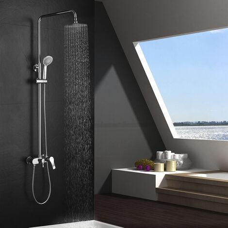 Columna de ducha monomando CAN tubo redondo extensible regulable en altura de 80 a 120 cm. Ducha de mano para hidromasaje y rociador redondos. Recambios garantizados Kibath