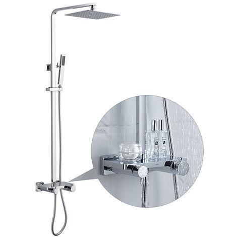 Columna de ducha monomando con repisa adaptable con altura regulable de 900 a 1200mm y brazo de ducha orientable.