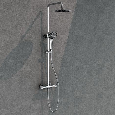 Columna de ducha monomando extralarga MON Bluetooth para música y llamadas, tubo redondo extensible regulable en altura de 100 a 150 cm. Acabado en blanco y cromo brillo. Recambios garantizados Kibath