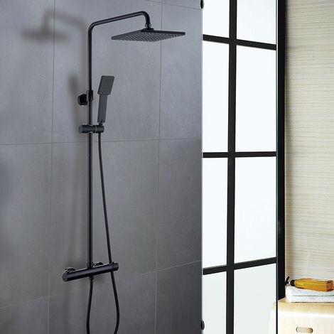 Columna de ducha monomando extralarga PAL grifo monomando con repisa de cristal, tubo redondo extensible regulable en altura de 100 a 150 cm. con ducha hidromasaje redonda. Recambios garantizados Kibath