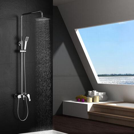 Columna de ducha monomando extralarga VER y tubo redondo extensible regulable en altura de 100 a 150 cm. Ducha de mano para hidromasaje y rociador cuadrados. Recambios garantizados Kibath