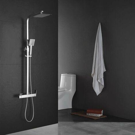 Columna de ducha monomando modelo CHE y tubo cuadrado extraplano regulable en altura de 73 a 122 cm. Incluye ducha de mano y rociador con diseño cuadrado. Recambios garantizados Kibath