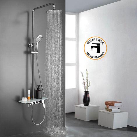 Columna de ducha monomando PAL grifo monomando con repisa de cristal, tubo redondo extensible regulable en altura de 80 a 120 cm. con ducha hidromasaje redonda. Recambios garantizados Kibath