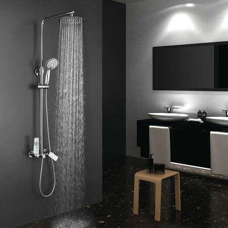 Columna de ducha monomando redonda modelo DUA con repisa integrada, tubo redondo extensible regulable en altura de 80 a 120 cm. Ducha mano para hidromasaje y rociador redondos. Recambios garantizados Kibath