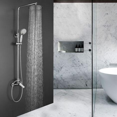 Columna de ducha monomando redonda modelo SIO tubo redondo extensible regulable en altura de 80 a 120 cm. Ducha de mano para hidromasaje y rociador redondos. Recambios garantizados Kibath