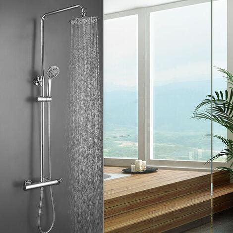 Columna de ducha monomando TOR de diseño redondo, tubo redondo extensible regulable en altura de 80 a 120 cm. Acabados en cromo brillo. Ducha de mano y rociador redondos. Recambios garantizados Kibath