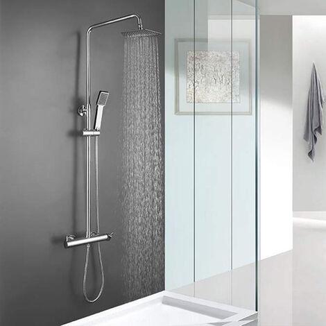Columna de ducha monomando VEG de diseño cuadrado, tubo redondo extensible regulable en altura de 80 a 120 cm. Acabados en cromo brillo. Ducha de mano y rociador cuadrados. Recambios garantizados Kibath