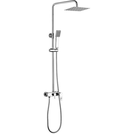 Columna de ducha monomando VER con tubo redondo extensible regulable en altura de 80 a 120 cm. Ducha de mano para hidromasaje y rociador redondos. Recambios garantizados Kibath