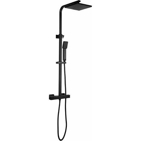 Columna de ducha negra mate, modelo cuadrada anti escaldaduras Damast 16922 | Negro mate