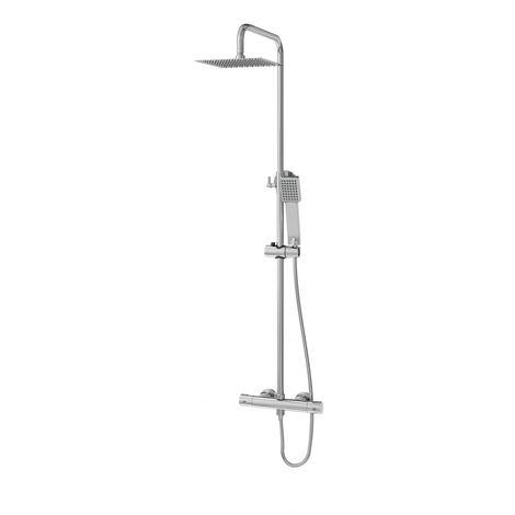Columna de ducha Poseidón con termostático redondo, tubo redondo y duchón cuadrado extraplano